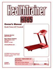 keys healthtrainer 65t treadmill user manual